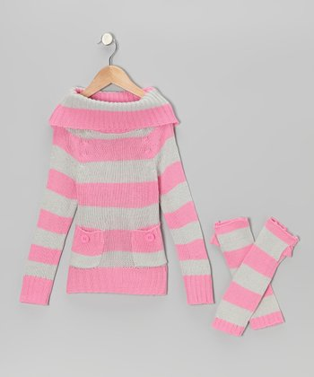 Pink & Gray Stripe Marilyn Neck Sweater & Arm Warmers - Girls