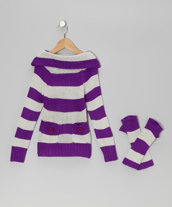 Purple & Gray Stripe Marilyn Neck Sweater & Arm Warmers - Girls