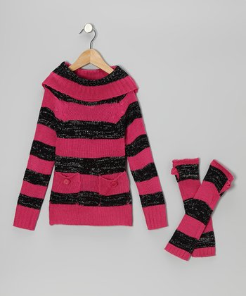 Pink & Black Stripe Marilyn Neck Sweater & Arm Warmers - Girls