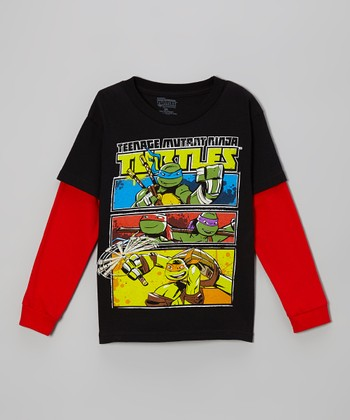 Black & Red Teenage Mutant Ninja Turtles Layered Tee - Kids