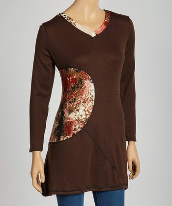 Brown Abstract Patchwork Tunic - Women