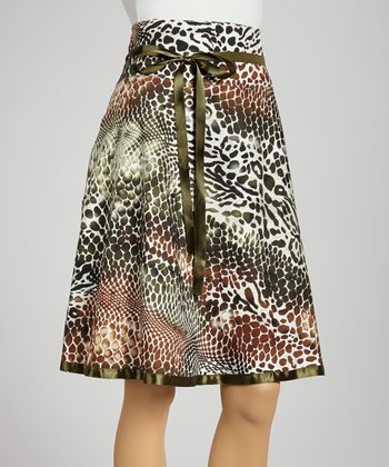 Olive & White Animal A-Line Skirt