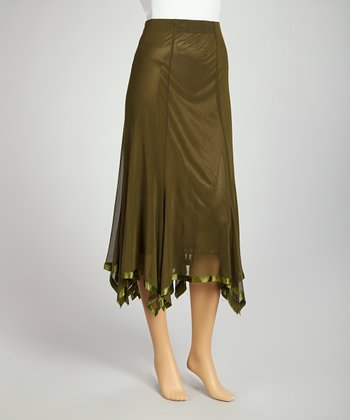 Olive Handkerchief Skirt