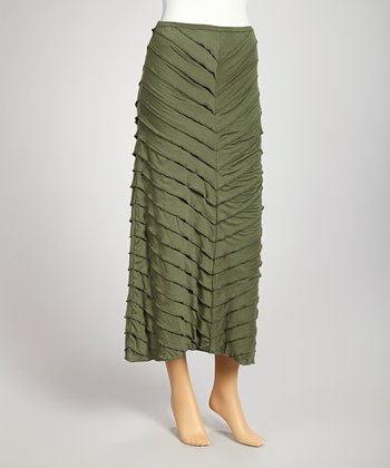 Bottle Green Tiered Maxi Skirt