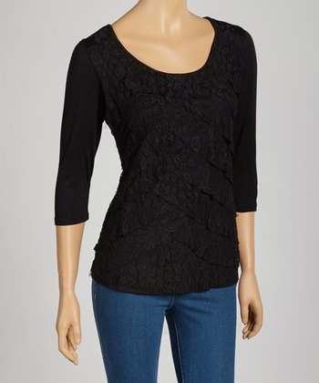 Black Tiered Lace Top - Women