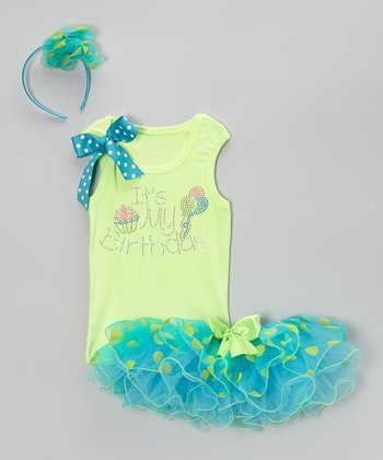 Green & Blue 'Birthday' Tutu Set - Infant, Toddler & Girls