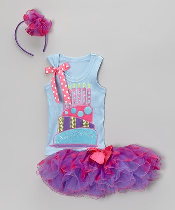 Lilac & Blue 6th Birthday Tutu Set - Girls