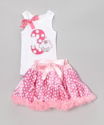 Pink Polka Dot '3' Tank & Pettiskirt - Toddler & Girls