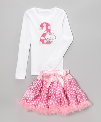 Pink Polka Dot '2' Tee & Pettiskirt - Toddler & Girls