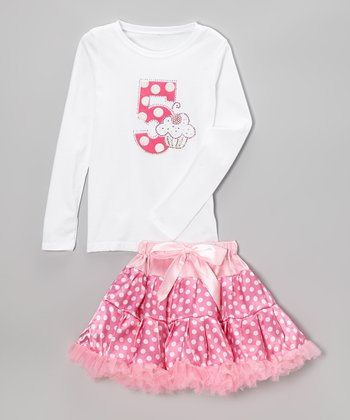 Pink Polka Dot '5' Tee & Pettiskirt - Girls