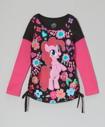 Black & Fuchsia My Little Pony Layered Tee - Girls