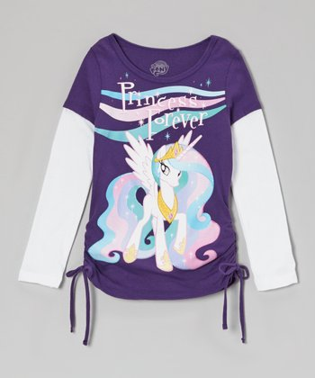 Plum & White 'Princess Forever' Layered Tee - Girls