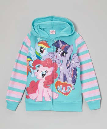 Teal Stripe My Little Pony Zip-Up Jacket - Girls