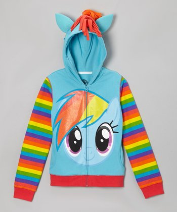 Blue My Little Pony Face Hoodie - Girls
