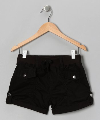 Black Rhinestone Rivet Shorts