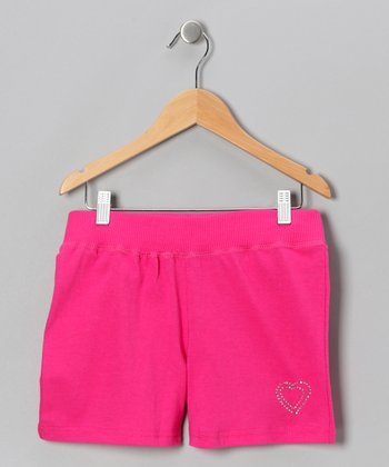 Fuchsia Heart Shorts - Girls