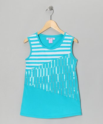 Slate Blue Stripe Sequin Tank