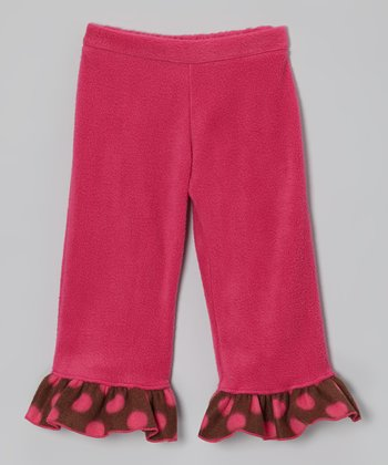Raspberry Cocoa Polka Dot Ruffle Pants - Infant, Toddler & Girls