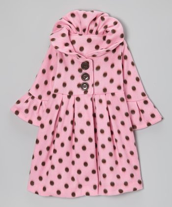 Pink Mocha Polka Dot Fleece Swing Coat - Toddler & Girls