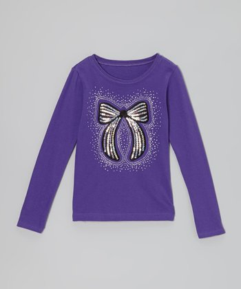 Purple & Black Sequin Bow Tee - Toddler & Girls