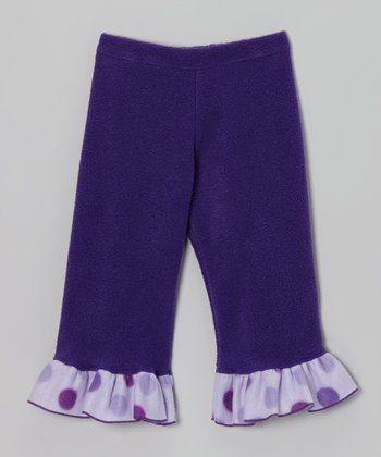 Plum Princess Polka Dot Ruffle Pants - Infant & Girls