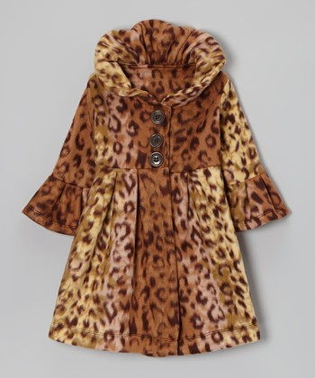Fab Feline Leopard Fleece Swing Coat - Toddler & Girls