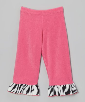 Pink Zoey's Zebra Fleece Ruffle Pants - Infant, Toddler & Girls