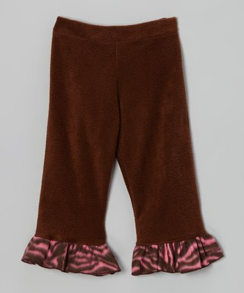 Brown Zazzy Zebra Fleece Ruffle Pants - Infant, Toddler & Girls