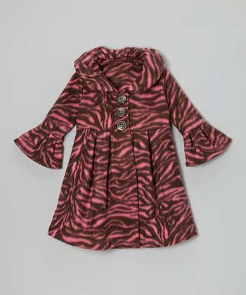 Brown Zazzy Zebra Fleece Swing Coat - Toddler & Girls