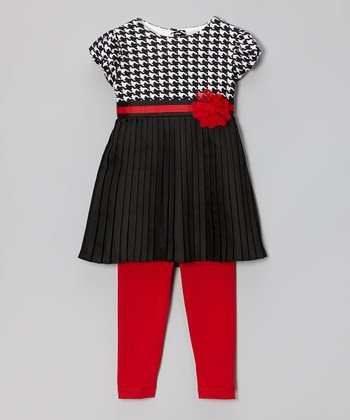 Black & Red Houndstooth Pleated Tunic & Leggings - Toddler