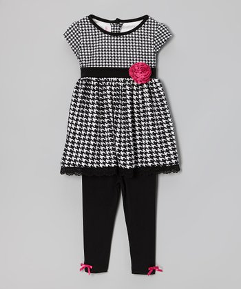 Black & White Houndstooth Tunic & Leggings - Toddler