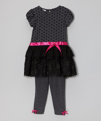 Black & Gray Polka Dot Lace Tunic & Leggings - Toddler
