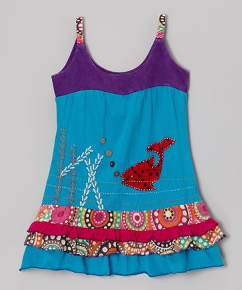 Turquoise & Purple Fish Dress - Girls