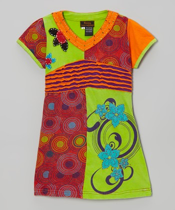 Lime & Orange Breeze Dress - Girls