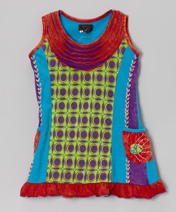 Rust & Lime Geometric Dress - Girls