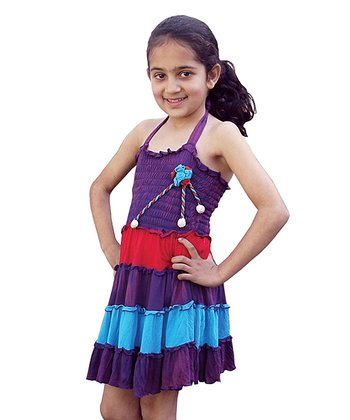 Purple & Turquoise Shirred Ruffle Dress - Girls