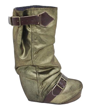 Olive Longer Lashes Leather Platform Boot