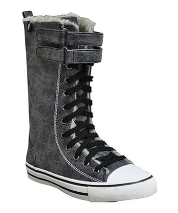Black Two-Strap Hawk Sneaker Boot