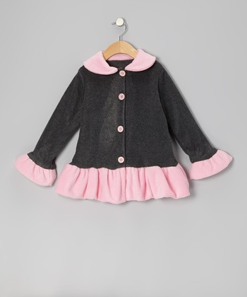 Pink & Gray Ruffle Fleece Jacket - Infant, Toddler & Girls