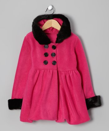 Pink & Black Hooded Coat - Infant, Toddler & Girls