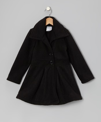 Black Button Coat - Infant, Toddler & Girls