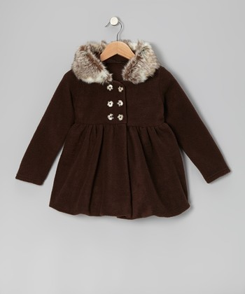 Brown Hooded Coat - Infant, Toddler & Girls