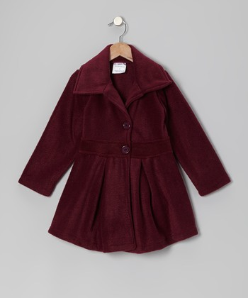Maroon Button Coat - Infant, Toddler & Girls