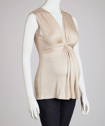 Khaki Knotted Maternity Sleeveless Top