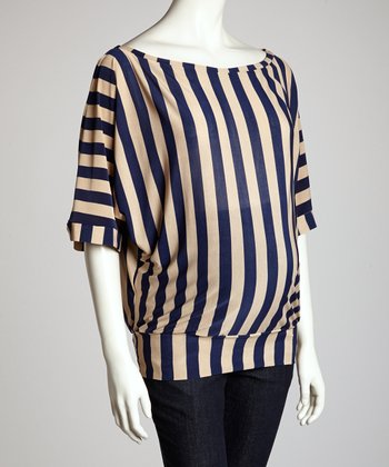 Blue & White Stripe Maternity Dolman Top