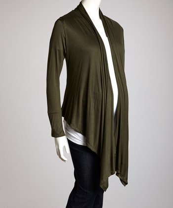 Green Maternity Open Cardigan