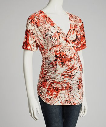 Red Abstract Maternity V-Neck Top