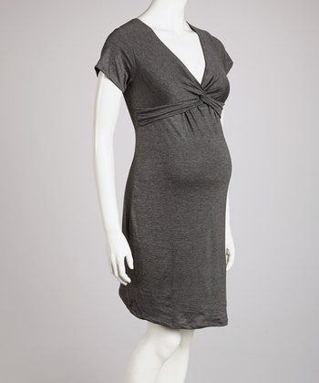 Charcoal Knot-Front Maternity Dress