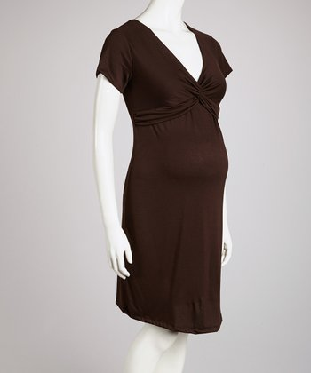 Brown Knot-Front Maternity Dress