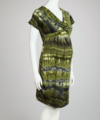 Green Blur Knot-Front Maternity Dress